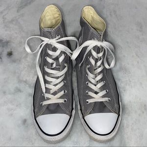 CONVERSE SIZE 9 GRAY HIGH TOPS